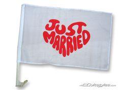 """""""Just Married"""" Flagge für's Auto! #Hochzeit #wedding #justmarried"""