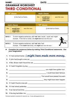 English Grammar Worksheet, Third Conditional 1/2. http://www.allthingsgrammar.com/third-conditional.html