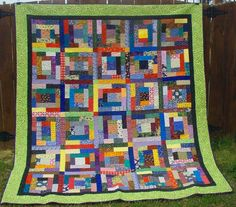 @Bonnie S. S. K Hunter has a colorful scrappy quilt pattern that will show you how to make easy quilt blocks to make a full size bed quilt for your children. They can have their own personal crayon box in quilt form, so encourage them to help too!