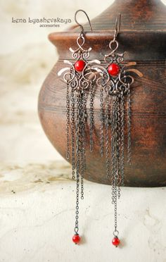 "Earrings ""Chinese lantern"" Coral, copper"