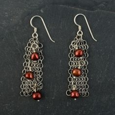 Garnet Red Pearl Chain Maille Earrings :: Elaine Unzicker Beaded Jewelry, Handmade Jewelry, Pearl Chain, Red Garnet, Chainmaille, Craft Projects, Rock Lobster, Drop Earrings, Pearls
