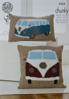 K4324 VW Campervan Cushions Knitting Pattern by KnittingPatterns4U