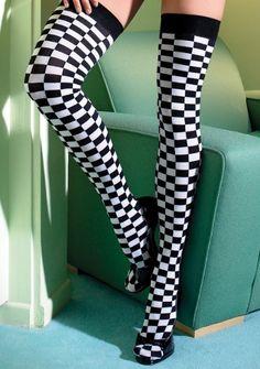 471c4bcb7 Checkerboard Pattern Thigh Highs - each pair