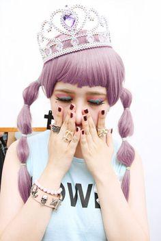 pastel purple hair choppy bangs fringe tied ponies