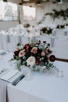 Wedding Flower Arrangements Minimalist Industrial Winter Wedding with Blush and Burgundy Accents - Love was definitely brewing at this minimalist industrial wedding in dreamy shades of blush and burgundy. Winter Wedding Centerpieces, Winter Wedding Flowers, Floral Wedding, Wedding Decorations, Burgundy Wedding Flowers, Wedding Yellow, Wedding Table Flowers, Yellow Flowers, Blush Winter Wedding