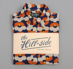 The Hill-Side Short-Sleeve Shirt, Cotton/Linen Blend Geometric Flower Print, Navy