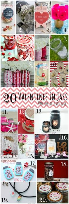 Happy Valentine's Day!  To celebrate the day, I decided to update the one dozen Valentine's Day round-up to include all of the 20 amazing projects I've featured here over the past month …  1. Message In A Jar from My Sister's Suitcase 2. Date Night In A Jar from While He Was Napping …