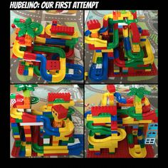 Our first big track using the Hubelino marble track system wich perfectly connects with Lego Doplo