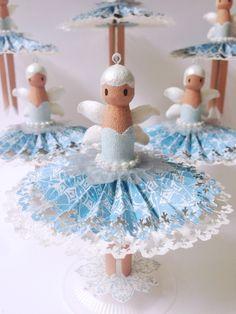 How to Make Snowy Dolly Peg Fairies by Katie #graphic45 #g45handmadegifttutorials