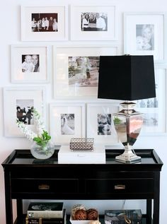 interior, galleri, photo walls, family photos, gallery walls, black white, hallway, picture frames, entryway