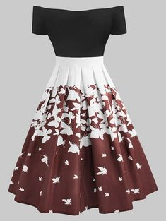 Plus Size Retro Butterfly Off The Shoulder Dress, Plus Size Retro Dress girl clothing, Cute Prom Dresses, Pretty Dresses, Beautiful Dresses, Casual Dresses, Girls Dresses, Dress Prom, Dress Long, Wedding Dresses, Teen Fashion Outfits