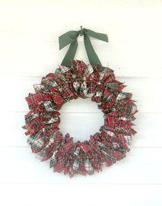 Royal Stewart and Stewart Dress tartan Holiday Wreath by heatherknitz