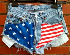 VINTAGE Cut Off American Flag Levis Hotpants Highwaisted Shorts