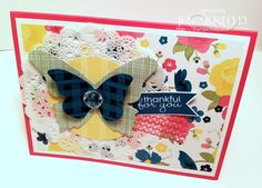 "Layered butterflies, doily....they help ""soften"" up the large patterned paper in the background.  Add a sentiment from Banner Greetings by Stampin' Up! and this is a cheeful card!  Jen Arkfeld - Stamped Silly"