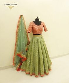 Half Saree Lehenga, Lehenga Saree Design, Green Lehenga, Lehenga Designs, Floral Lehenga, Choli Designs, Anarkali Dress Pattern, Lehnga Dress, Gown
