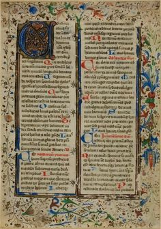 """German or Southern Netherlandish (Bruges) Illuminated Initial """"A"""" from a Psalter or Breviary, c. 1450s 