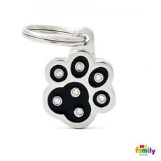 """Show details for Black Paw Strass Pet ID Tag  Free engraving www.myfamily.it  In hand-enamelled, precision-cast metal. Embellished with rhinestones """"made with Swarovski elements"""". Each tag is a tiny jewel, made from non-allergenic materials. Made in Italy  This product can be customized with 3 lines on the back.  Tell us how to customize your product (eg. Name line 1, line 2 telephone number)"""