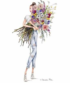 Summer Bouquet @alexandra_nea #FashionIllustrations| Be Inspirational ❥|Mz. Manerz: Being well dressed is a beautiful form of confidence, happiness & politeness