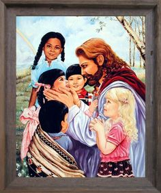 Jesus Christ with Children Religion u0026 Spiritual Wall Decor Brown Rust Framed Art Print Picture  sc 1 st  Pinterest & 112 best Religious Framed Art Pictures images on Pinterest   Framed ...