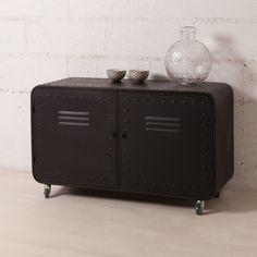 Buffet bas en métal 2 portes casiers decoclico Factory Noir