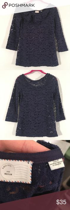 Anthropologie Blue Lace Quarter Ruffle Top M Great used condition but no liner and sheer design. Ruffle on the collar. Brand: Postmark Anthropologie Tops Blouses