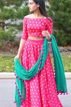 Best-Chaniya-Choli-Design-ideas-for-Navratri-2017-Pink-Bright-Colored