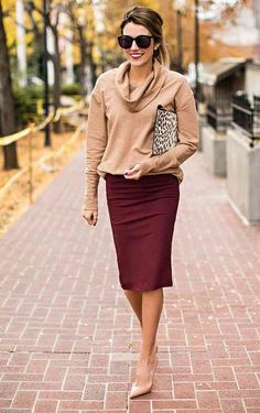 How to Be the Most Stylish Girl in the Office: 13 Ways to Wear a Pencil Skirt This Fall - Office Outfits Style Casual, My Style, Casual Wear, Casual Attire, Classy Casual, Smart Casual, Classy Ideas, Classy Girl, Classy Women