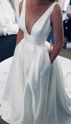 cheap white wedding dresses, modest v neck long wedding dresses dressywomen bride bridalgowns pockets 676314069023835668 Orange Wedding Guest Dresses, Cheap White Wedding Dresses, Most Expensive Wedding Dress, Simple Bridal Dresses, Modest Wedding Dresses, Lace Dresses, Wedding White, Boho Wedding, Classic Wedding Dress