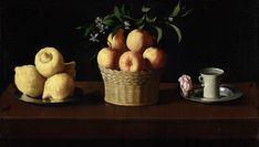Francisco de Zurbarán - Plato con limones, cesta con naranjas y taza con una rosa - 1633