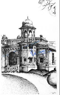 Hindu Gymkhana, Karachi. Pen and ink sketch on pastel sheet, drawn with a 0.1mm rapido.  By: Zehra Naqavi (Architect/artist)  Year: 1997