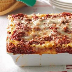 Best Lasagna Recipe - For a casual holiday meal, you can't go wrong with this rich and meaty lasagna. My grown sons and daughter-in-law request it for their birthdays, too. - Pam Thompson, Girard, Illinois @ http://www.tasteofhome.com/recipes/best-lasagna