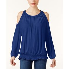 Inc International Concepts Off-The-Shoulder Top, (99 AED) ❤ liked on Polyvore featuring tops, blouses, goddess blue, cold shoulder blouse, off the shoulder peasant tops, off the shoulder tops, off the shoulder blouse and blue off shoulder top