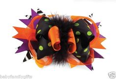 Mud Pie Halloween Trick Or Treat Baby Girl Hair Accessories-Halloween Bow  $10.99 Sold at Baby Family Gifts Ebay