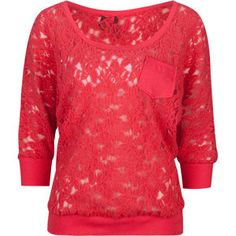 Three-Quarter Sleeves are my favorite. And this red lace sweater is perfect, especially for Fall!