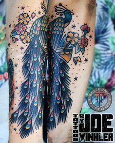 #traditional #peacock #tattoo by Joe Winkler Elite Ink Tattoos of Myrtle Beach, South Carolina