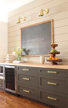 Cedar & Moss Brass Tilt Cone Sconces in the DIY kitchen bar via Design Indulgence Blog