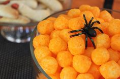 If you expect any younger children at the Halloween party, cheese puffs are a cheap and great way to stick with a black and orange theme but still offer a quickly and easily refilled dish.