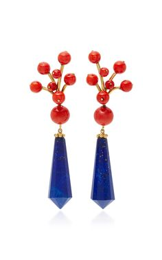 Shop Coral Berry Earrings with Lapis Drops. This exquisite one-of-a-kind piece by **Sorab & Roshi** is the perfect combination of bold, chic and sculptural, featuring stunning stones that make each piece unique. Coral Earrings, Coral Jewelry, Women's Earrings, Jewelry Art, Beaded Jewelry, Fine Jewelry, Fashion Jewelry, Accessorize Shoes, Estilo Grunge