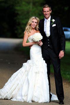 Abbey Clancy in a mermaid wedding dress by Giles
