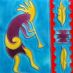 "Southwestern Zia with Kokopelli Metal Wall Art Decor 14/"" x 14/"" Teal Tainted"