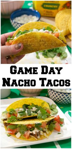 Looking for food recipes and ideas for your next Sunday Football tailgate party? These Game Day Nacho Tacos use ground beef with lots of delicious seasoning and homemade cheese sauce- and of course, they're loaded with toppings! #OldElPasoTailgate @Walmart #ad