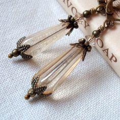 Brass Dangle Earrings, Downton Abbey Style Neo Victorian Jewelry, Champagne Teardrop Beads, Golden Lantern Earrings.