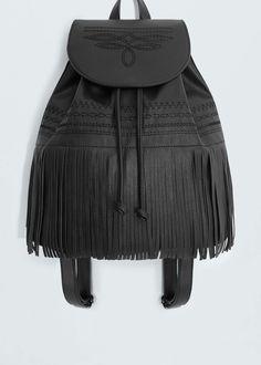 Mochila flecos | MANGO Leather Backpack, My Bags, Purses And Bags, Fashion Bags, Fashion Accessories, Mango France, Leather Art, Stone Heart, Girly