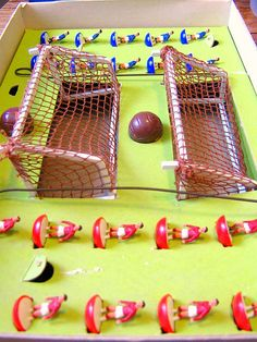 Subbuteo - played this a lot. Biggest peril was getting the players squashed under a clumsy mother's foot.