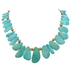 Free-form Petal Shaped Natural Turquoise Necklace