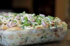 Ham And Rapini Strata | Magdiner  Breakfast or brunch of the Champs.  This Italian themed dish will surly satisfy the hungriest bellies. #Strata, #rapini, #ham, #breakfast, #brunch