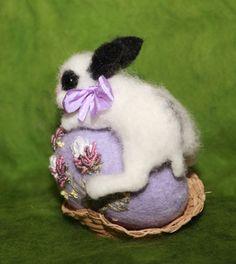 Items similar to Needle Felted/ miniature sculpture/ hare/ bunny on egg/ rabbit/ Easter /handmade gift on Etsy Needle Felted Animals, Felt Animals, Needle Felting, Miniature Rabbits, Wet Felting Projects, Sleepy, Felt Decorations, Pin Cushions, Egg