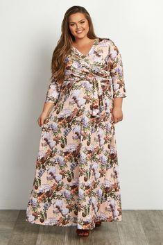Pink Floral Sash Tie Plus Size Maxi Dress