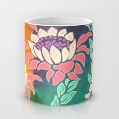 Sunrise Mug by Vikki Salmela | Society6 #new #tropical #bright #Protea #flower #floral on #mugs #cups for #drink #kitchen #collectibles #gifts on sale with promo code  http://society6.com/vikkisalmela?promo=ZR6ZMRGW22Z6 through June 7th. All my art on #Society6 with some exceptions is FREE worldwide shipping with the promo code!