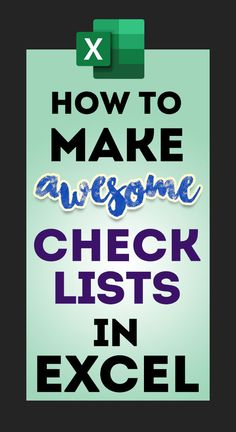 How to make Check lists Learn how to make to-do lists or checklists in Excel super easily. Free Excel tips, tricks, tutorials, dashboard templates, formula core book and cheat sheets. Excel Tips, Excel Hacks, Computer Help, Computer Programming, Computer Tips, Microsoft Excel Formulas, Microsoft Word, Application Utile, Excel For Beginners
